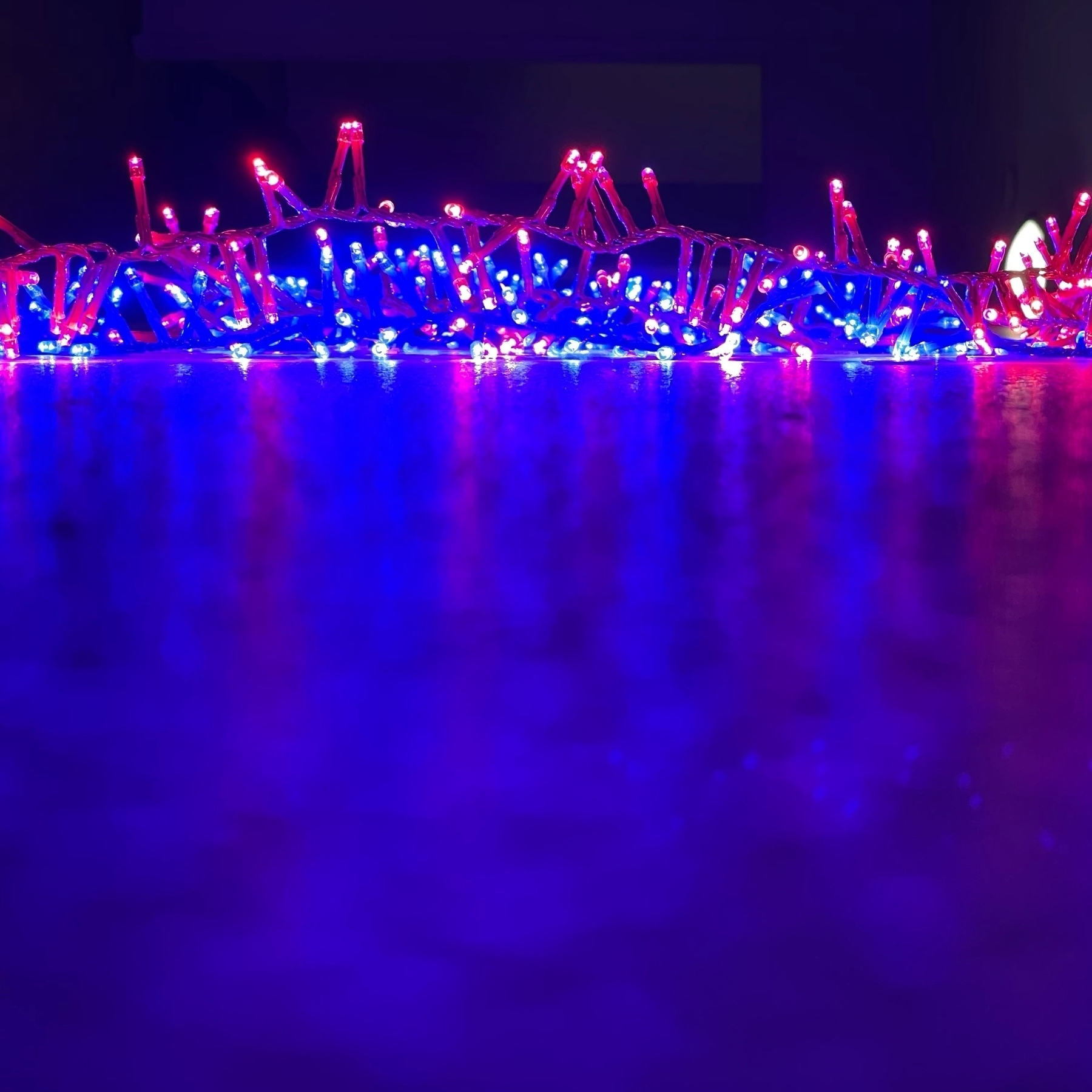blue and red led light close up