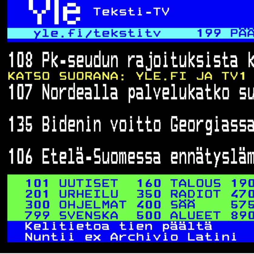 Finnish broadcasting company teletext page