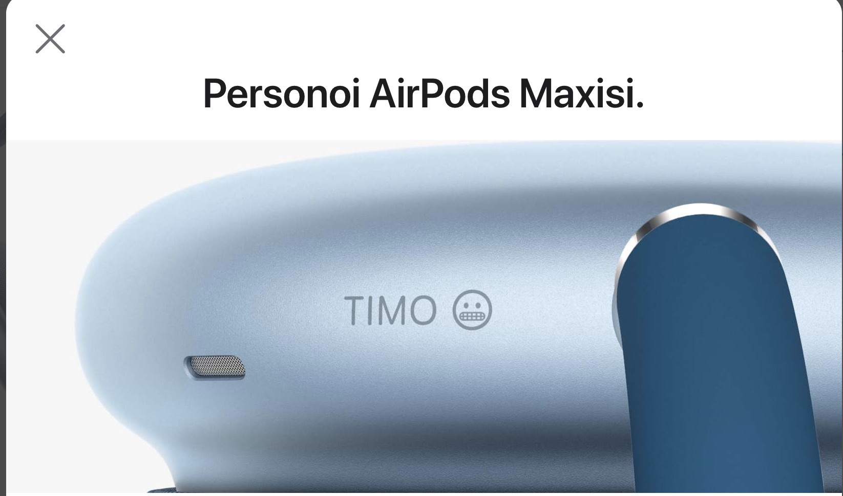 """Airpods Max personalization page with text """"Timo"""" and a grimacing emoji"""