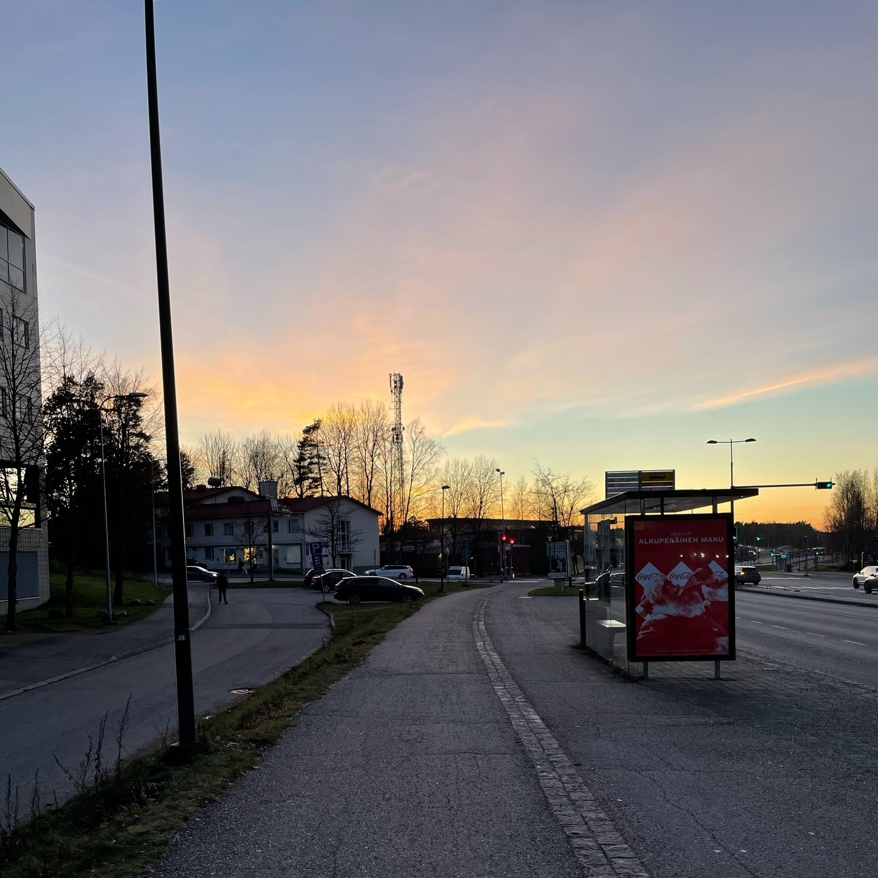 sunset and some industrial buildings