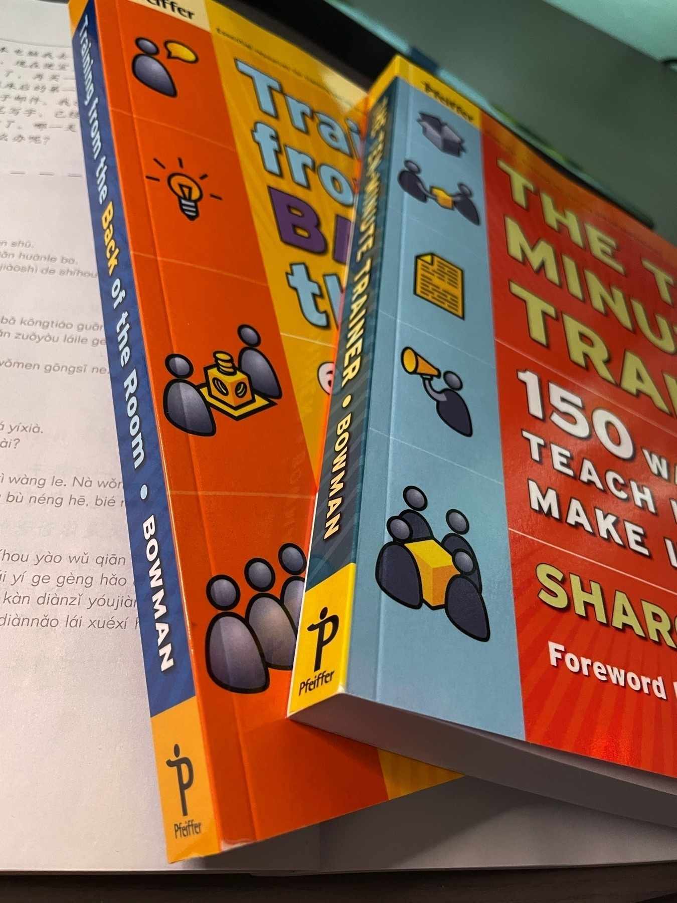 Books: Ten minute trainer and Teaching from the Back of the Room on top of each other