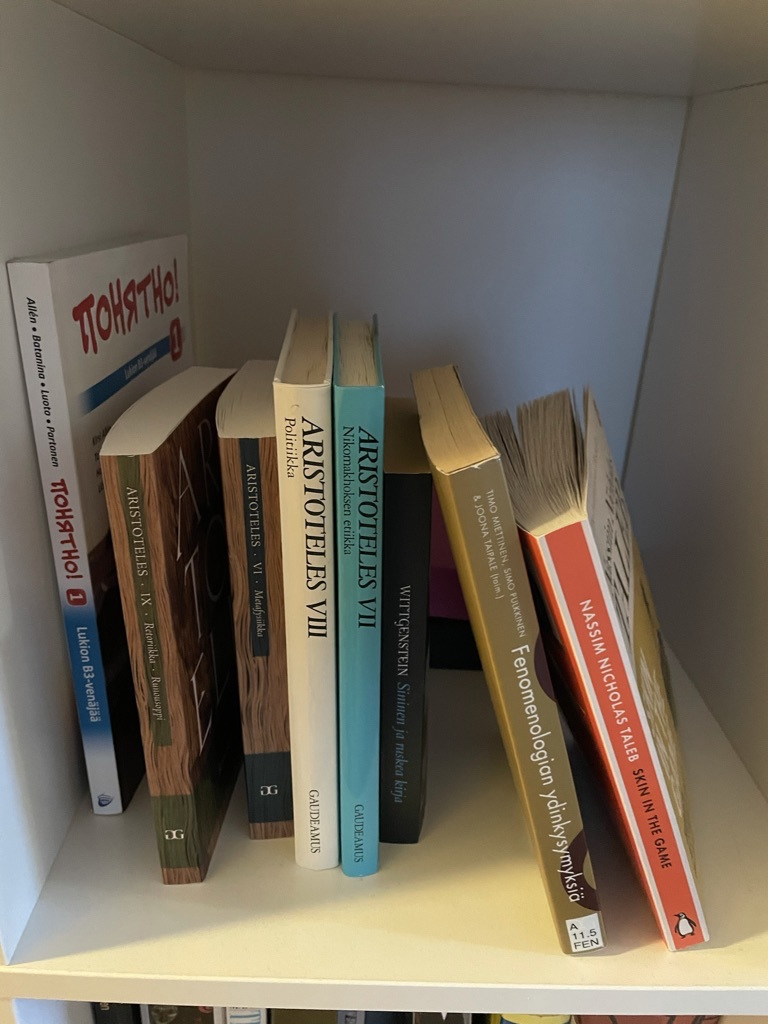 Philosophy books: Aristotle, Wittgenstein, Book about Phenomenology, Taleb's Skin in the Game, Russian textbook