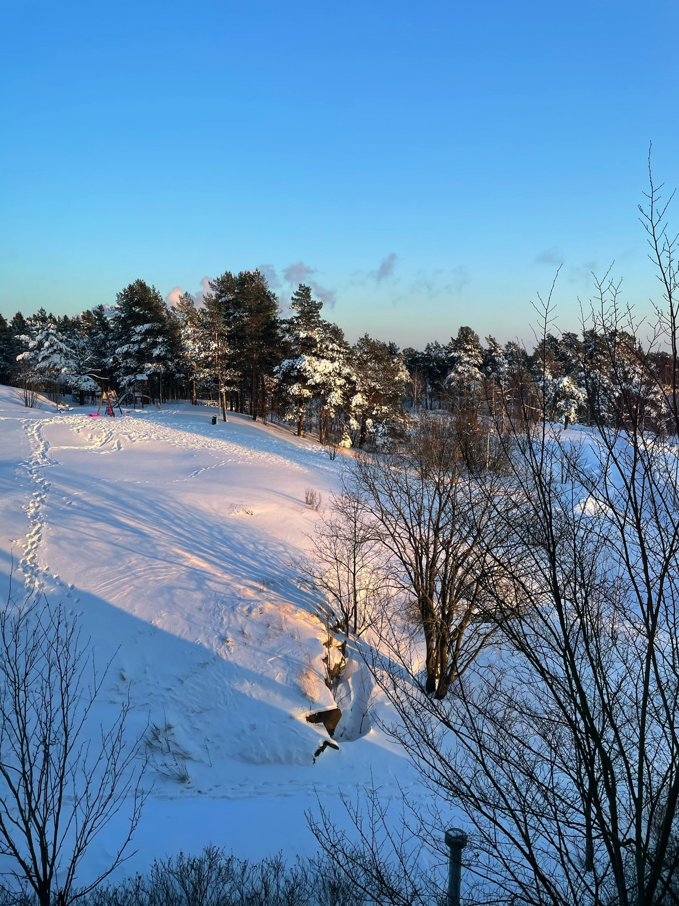 view out of the window to a snowy hill, sun, shadows, crisp snow