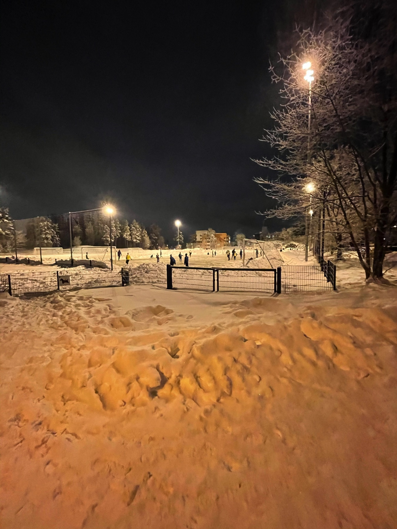 snow, football pitch with a plowed green patch 20+ kids playing soccer