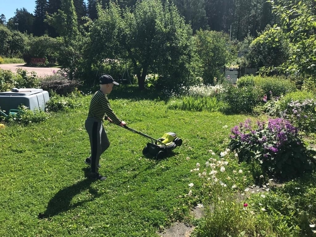 boy mowing the lawn, not really the dream job