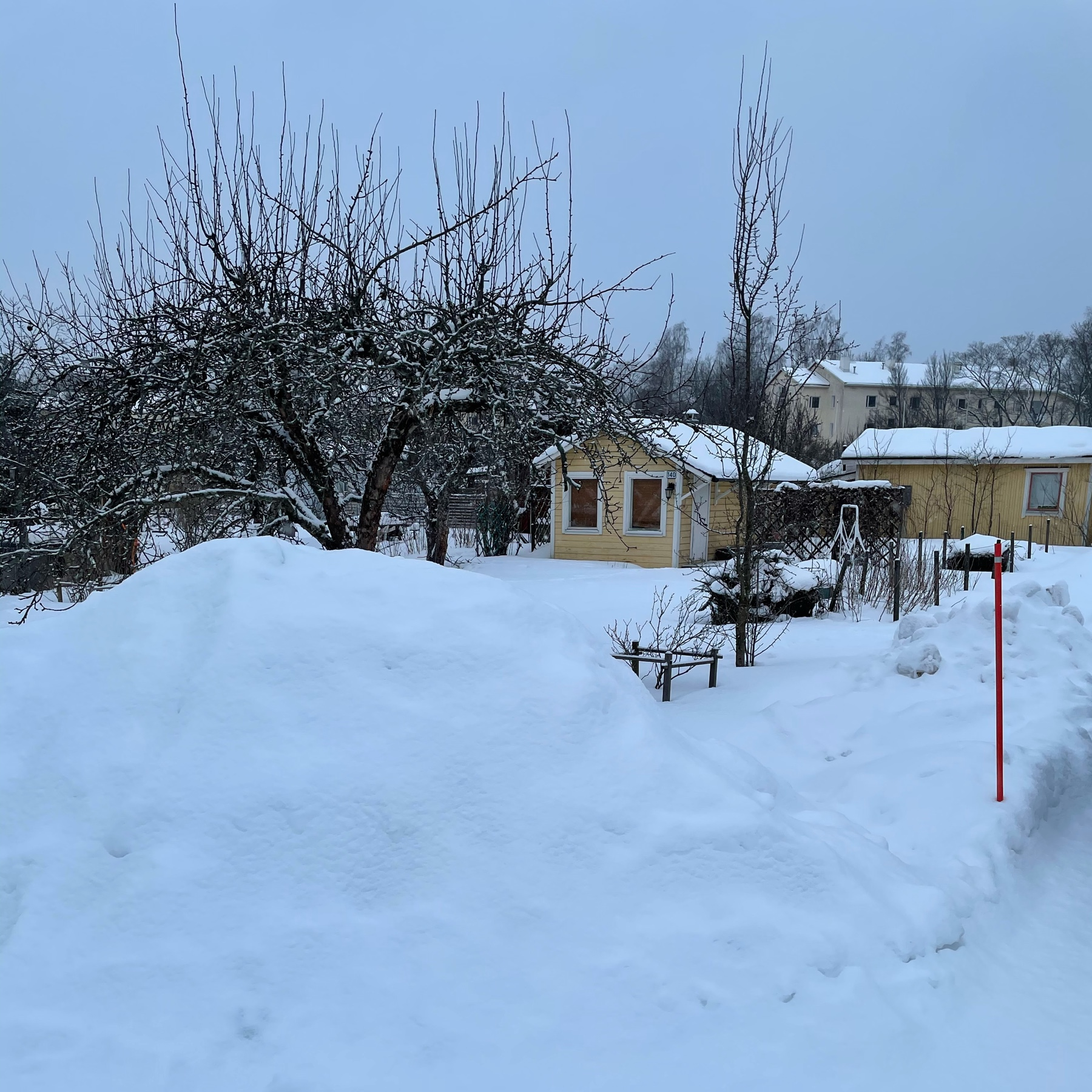 pile of snow, a cabin