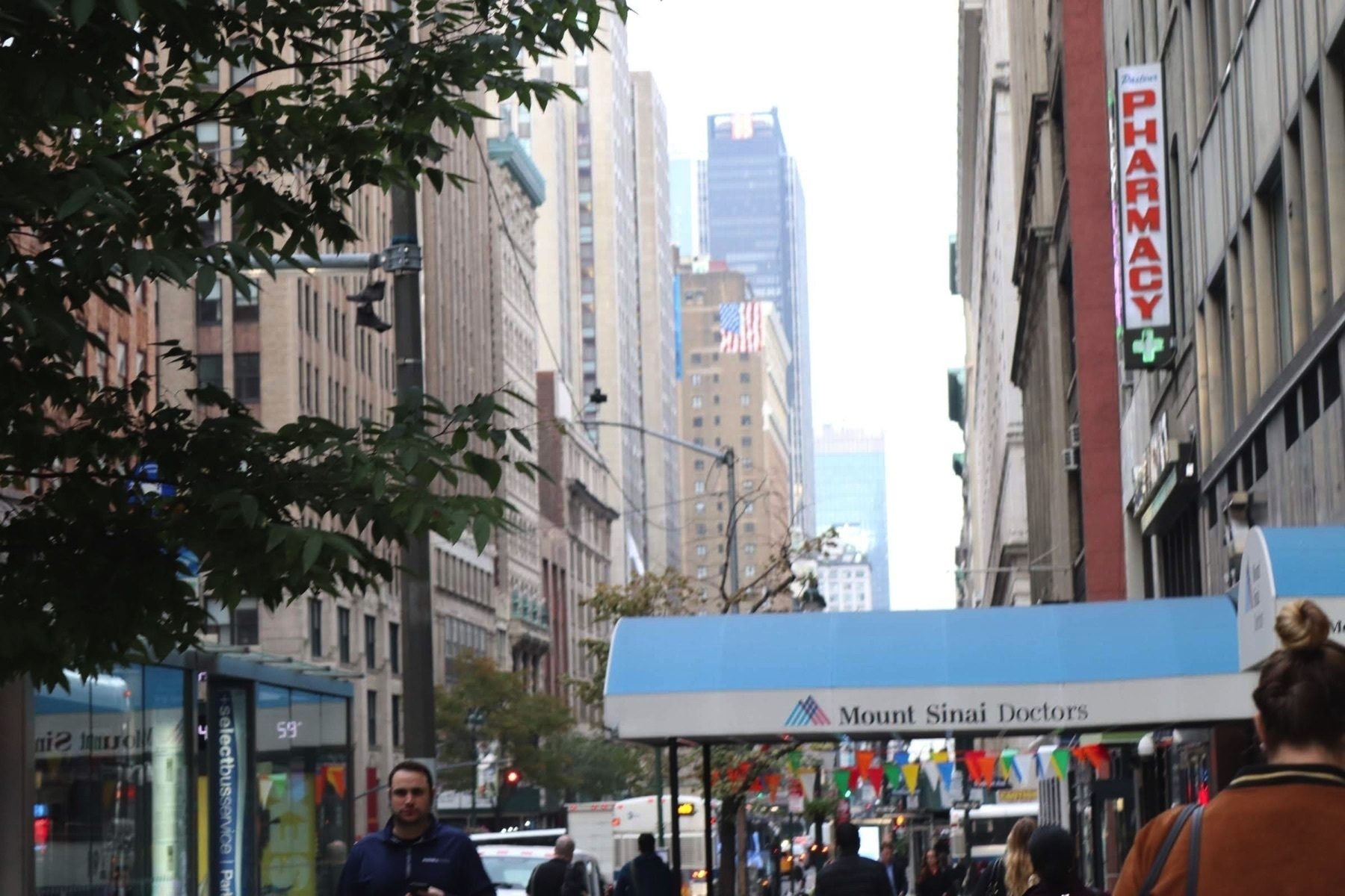 street photo from New York City including a hospital entry