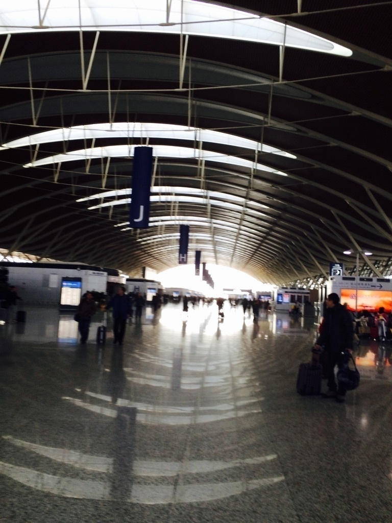 busy people at Shanghai Pudong Airport